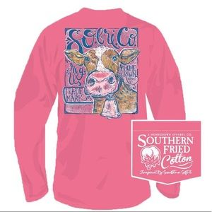 NWOT Southern Fried Cotton Pink Cow Long Sleeve